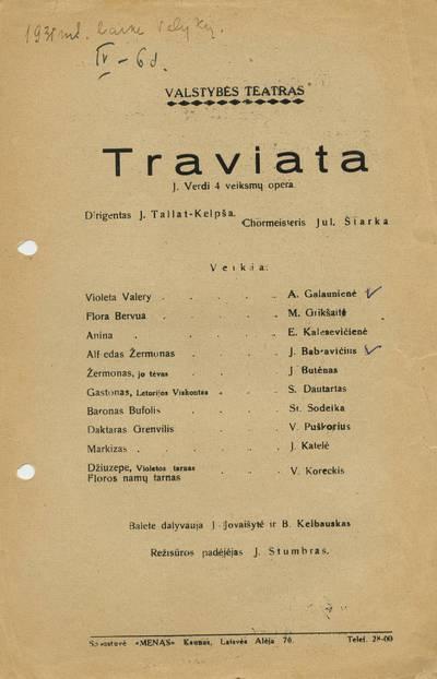 "Giuseppes Verdi operos ""Traviata"", pastatytos Valstybės teatre, programa."