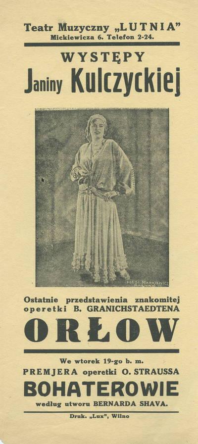 Spektaklių anonsas, dalyvaujant Janinai Kulczyckai.
