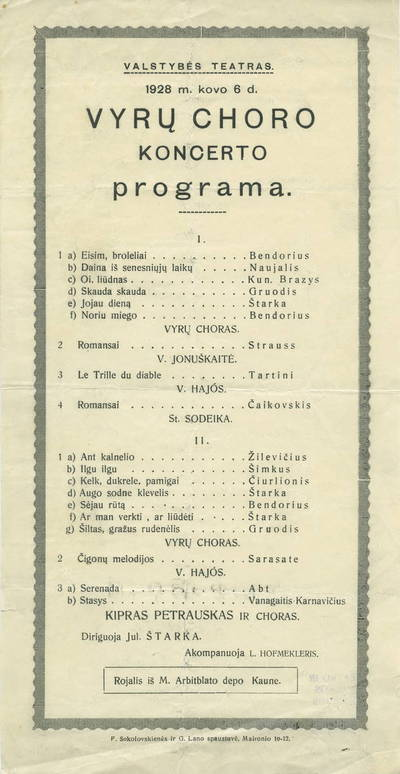 Vyrų choro koncerto programa.
