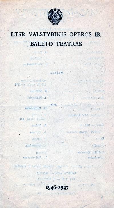 M. Bukšos rinkinio spektaklio programa. 1946-1947
