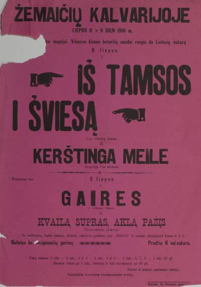 Telšių scenos mėgėjų afiša. 1916-07-08