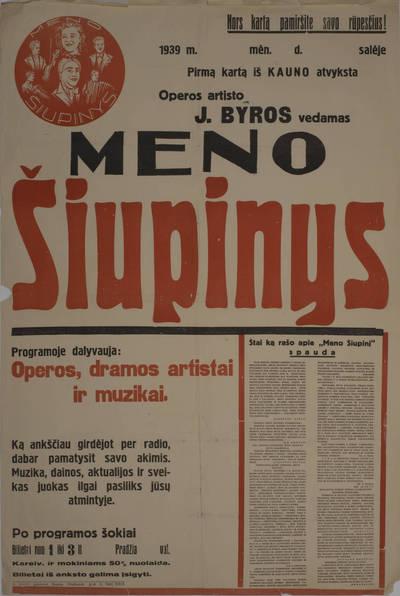 Koncerto afiša. 1939 m.