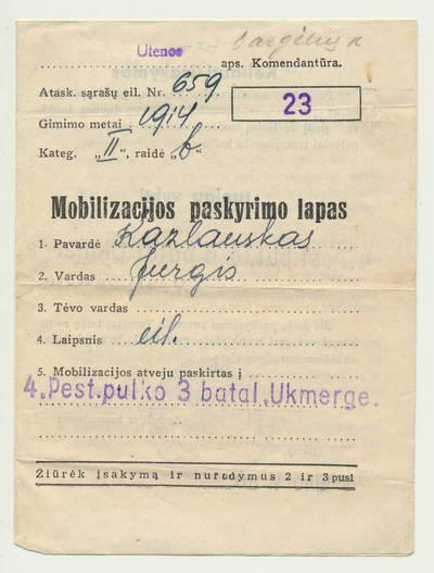 J. Kazlausko mobilizacijos paskyrimo lapas. 1940-05-30