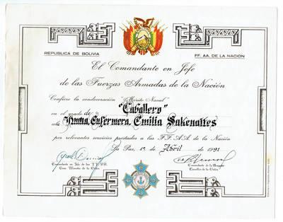 Apdovanojimo raštas. 1991-04