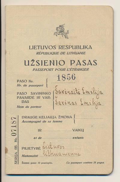 E. Šakėnaitės užsienio pasas. 1932-12-12