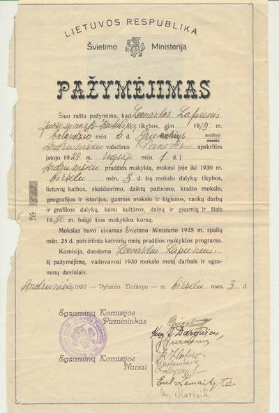 Andrioniškio pradžios mokyklos moksleivio L. Lapienio mokyklos baigimo pažymėjimas. 1930-06-03