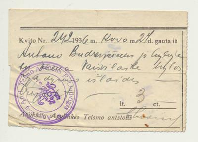 Bylos vykdymo išlaidų kvitas. 1936-03-24