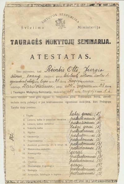 Tauragės mokytojų seminarijos baigimo atestatas, išduotas Otto Reinkiui. 1928-09-13
