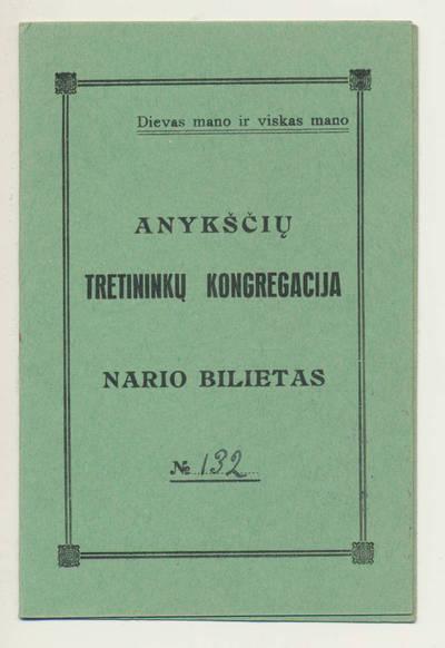 Tretininkų kongregacijos nario bilietas. 1940