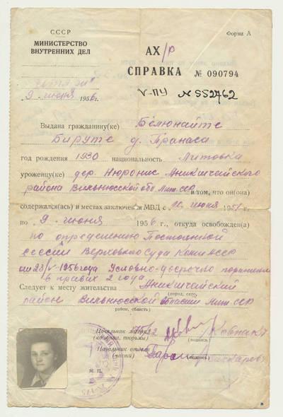Pažyma apie paleidimą iš lagerio. 1956-06-09