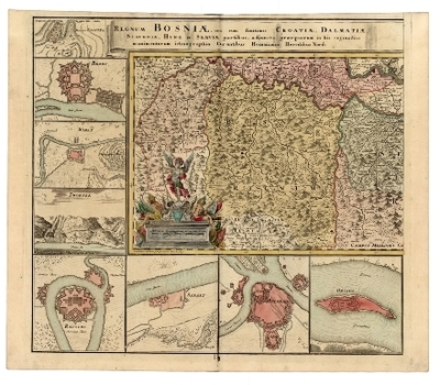 Regnum Bosniae, una cum finitimis Croatiae, Dalmatiae, Slavoniae, Hung. et Serviae partibus, adiuncta praecipuorum in his regionibus munimentorum ichnographia