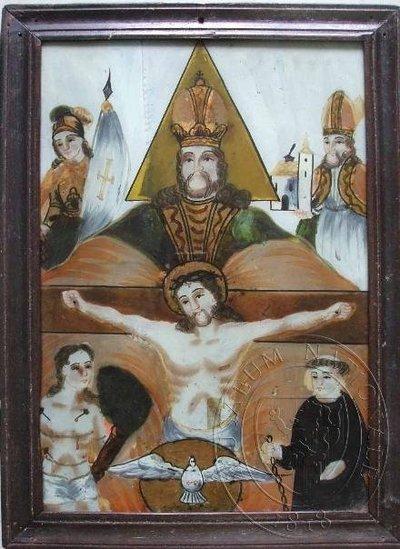 Nejsvětější Trojice obklopena světci - sv. Wolfgang, sv. Florián, sv. Linhart a sv. Šebastián