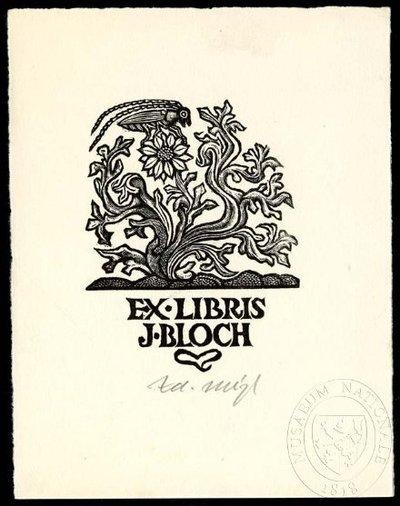 Exlibris - Kvetoucí rostlina a kobylka luční