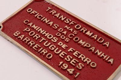 Placa dos Caminhos de Ferro Portugueses - Barreiro (1941)