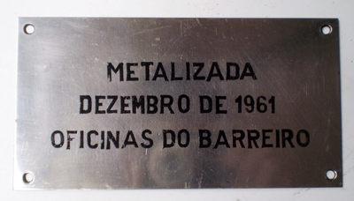 Placa de informação: Metalizada Oficinas do Barreiro
