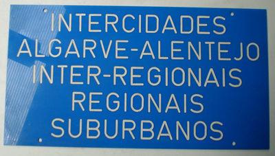 Placa de identificação: Intercidades Algarve - Alentejo