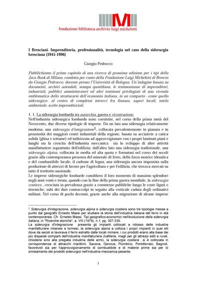 I Bresciani. Imprenditoria, professionalità, tecnologia nel caso della siderurgia bresciana (1945−1996)
