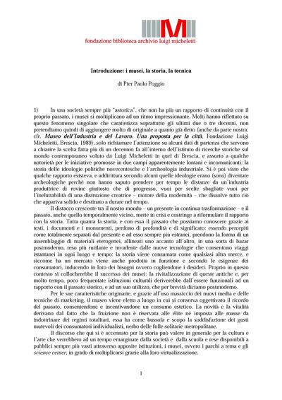 Introduzione: i musei, la storia, la tecnica