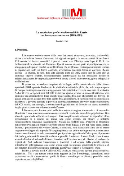 Le associazioni professionali contabili in Russia: un breve excursus storico. (1889-1989)