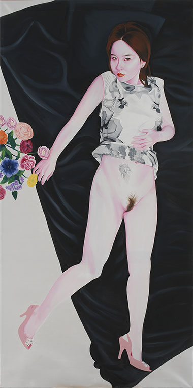 Lili with flowers 2014 oil and gold leaf on canvas