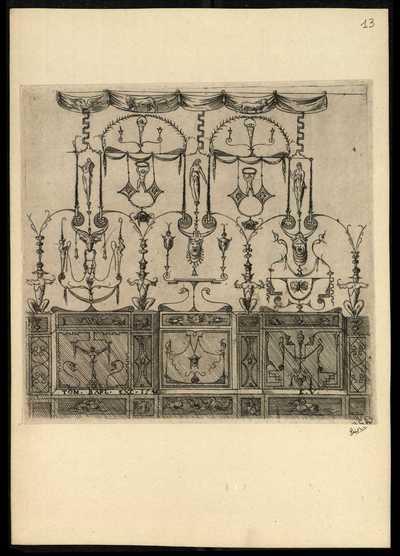 13: [Pannello con basamento sormontato da cinque archi] / E. V.