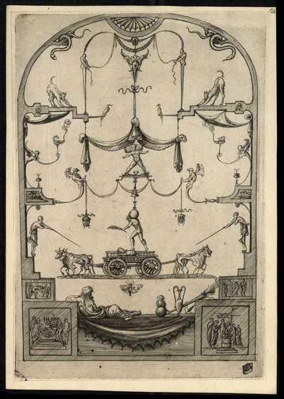 14: [Pannello con quattro tori e un carretto] / E. V.