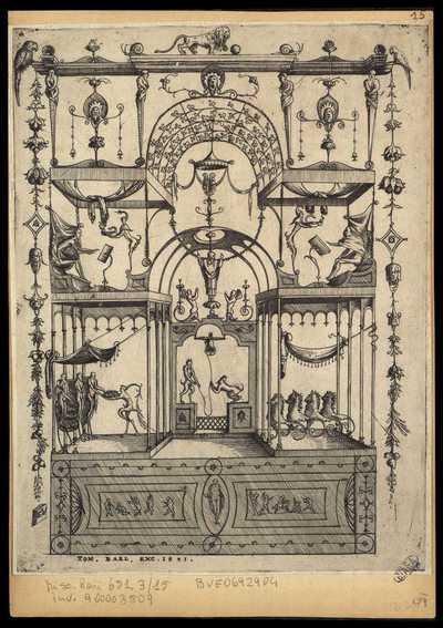 15: [Pannello con due satiri che suonano una campana] / E. V.