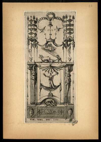 16: [Pannello con Romolo, Remo e la lupa capitolina] / E. V.
