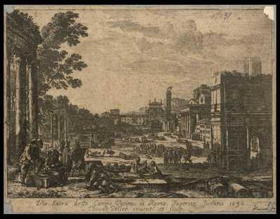Via Sacra detto Campo Vaccino di Roma / Superior. licentia 1636 Claude Gelleé inuent. et sculp.