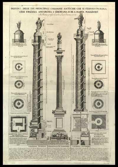 Disegno delle tre principali colonne antiche che si vedono in Roma cioè Traiana Antonina e Liberiana o di S. Maria Maggiore