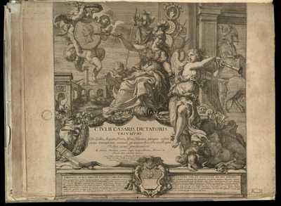 1: C. Ivlii Caesaris dictaroris Trivmphi De Gallia, Aegypto, Ponto, Africa, Hispania, quinquies eodem mense triumphantis, omnium, qui unquam fuere, Ducum, Regum Bellica virtute praestantissimi ab andrea Mantinea eximio, atque insigni Pictori Mantuae ... / R.V. Audenaerde Gand. invent. et Sculp. , Ant. Barbey scrip. , Andreas Mantinea pinxit
