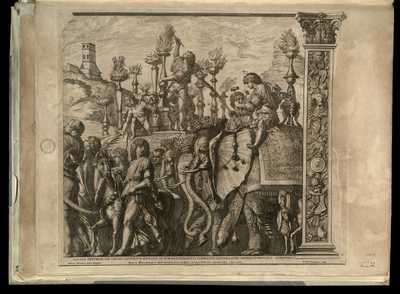 6: Gallici trivnphi die Caesar Capitolivm ascendit ad lvmina, quadriginta elephantis dextera, atqve sinistra lychnvchos gestantibvs / Andreas Mantinea pinxit Mantuae , R.V.A. Gandensis sculp.