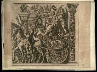 9: Caesar avreo cvrrv insignis ad Capitolivm trivnphans incedit retro victoria eivs capiti lavream imponit praeevnte celebri titvlo Veni Vidi Vici / Andreas Mantinea pinxit Mantuae , R.V.A. Gandensis sculp.