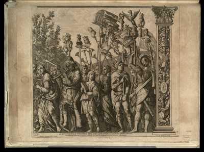 10: Ad sonvm tvrarvm, ac tympanorvm Mavri, atque Alexandrini Io Canentes chorvm dvcvnt victarvm vrbivm vvltus tvrriti in altvm tollvntvr in pompa spectandi / Andreas Mantinea pinxit Mantuae , R.V.A. Gandensis sculp.