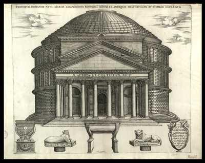 Pantheum romanum nunc Mariae cognomento rotumdae notum ad antiquam suam effigiem formam expressum / [Nicolas Beatrizet] , Ant. Lafreri