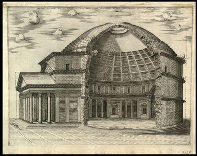 Panthei fidelissime dimensi exterior et interior pars ex antiquo romano suis omnibus numeris absoluta / [Nicolas Beatrizet] , Ant. Lafrerii