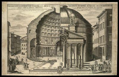 Prospetto interno ed esterno dell antico tempio romano detto Pantheon oggi chiesa della rotonda dedicata a tutti li santi / disegnato da Giuseppe Tiburtio Vergelli recanatese , intagliato da Pietro Paolo Girelli