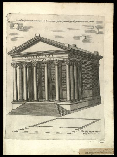 Hoc templum in foro romano situm cuius integram vides formam et si ex parte sit dirutum sic tamen olim fuiße vel ipse ruinae manifestissime ostendunt.