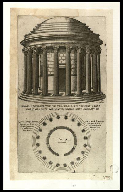 Minoris templi Herculis vel ut aliis placet portumni in foro Boario graphica delineatio, Romae anno 1568
