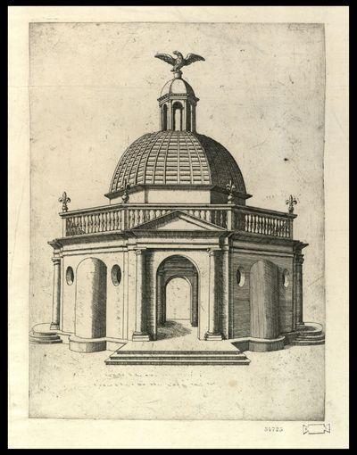 [Tempio romano con balaustra sornontata da quattro gigli e aquila in cima alla cupola superiore]