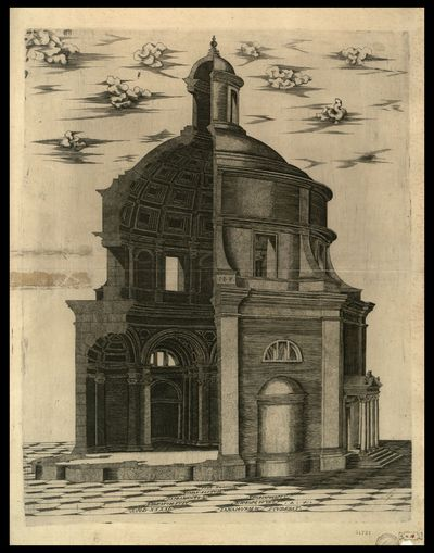 Hoc templum Romae factum sacramento q. dedicatum fuit a. M D XXXXI templum Neptuni prope puteolanam vrbem / I. B. f