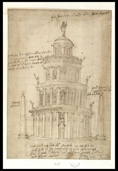 Disegno preparatorio del mausoleo di Augusto