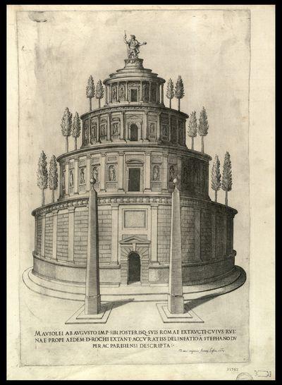 Mausolei ab Augusto imp. sibi posterisque suis Romae extructi, cuius ruinae prope aedem d. Rochi extant / accuratiss. delineatio a Stephano Du Perac Parisiensi descripta