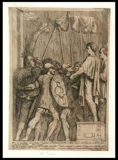 Vn Daco fugitiuo mandato dal re Decebalo ad occider Traiano vien preso e condotto all'imperatore al quale manifesta la congiura dell inimico / Matteo Piccioni Fecit