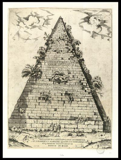 Sepulchrum C. Cesti Epulonis Ostiensi via et pyramide et marmori quadrato nobilissimum atque omnium vetustissimum / IHS