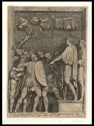 Vnus ex transfugis e' Dacia ad occidentum Traianum in Missam profectus, ab suspicionem captus, Imperatori defertur, cui Decebali patefacit insidias. Dion ex'phil / [François Perrier]