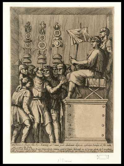 Parthamasiride figliolo di Pacoro re degli Armeni deposto il diadema a piedi di Traiano suplicando uno de' Satrapi aspetta che li sia restituito dall'Imperatore / Matteo Piccioni Fecit