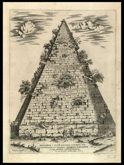 Sepulchrum C. Cestii Epulonis Ostiensi via et pyramide et marmori quadrato nobilissimum atque omnium vetustissimum / Ambrosius Brambilla fec