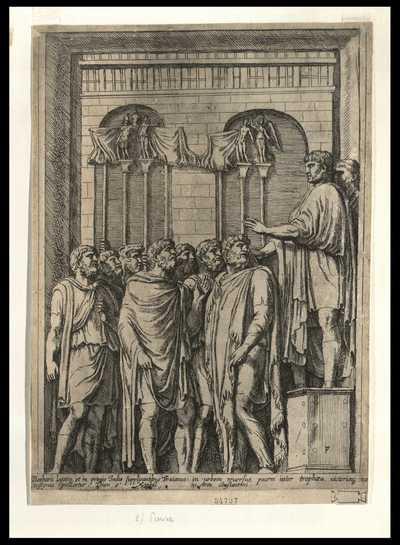 Barbaris legatis et in primis Indis supplicantibus Traianus, in urbem reuersus, pacem inter trophaea, uictoriaeq. insignia pollicetur ... / FP