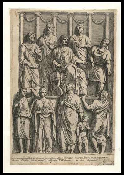 Foeminarum faecunditati, genitorumq. spei consuluit publicus parens, per uniuersitatis Italiam multa in puerorum alimenta elargitus ... / FP